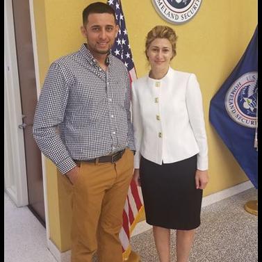 Emel Ersan with her client after winning their case