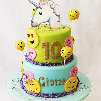 Custom Unicorn Emoji faces Cake Milwaukee