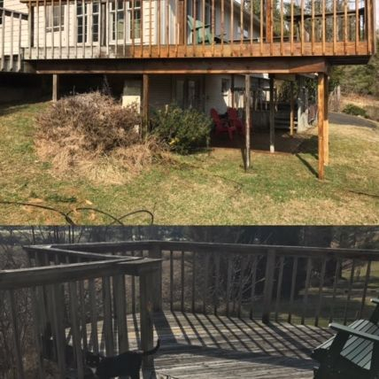 deck staining, before after,pressure wash, exterior painting, wood, deck, porch, wilmington nc
