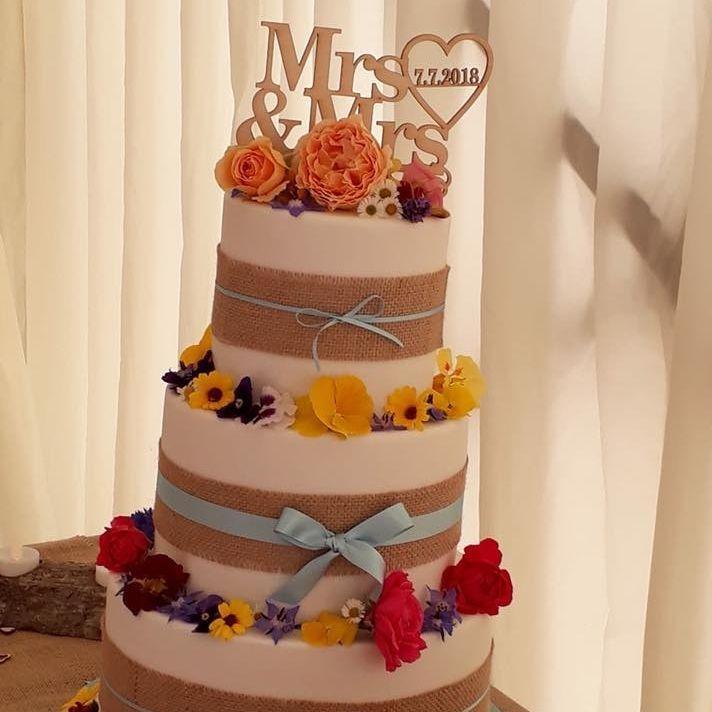 Summer Wedding Cake Fresh Flowers Hesian Ribbon