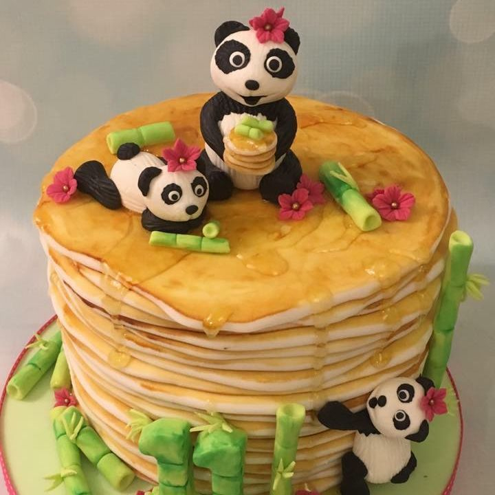 Pancake Stack Cake Panda Syrup Birthday Cake Decorating