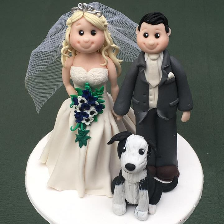 Bride Groom Personlised Family Pet Keepsakes Wedding Clay Topper
