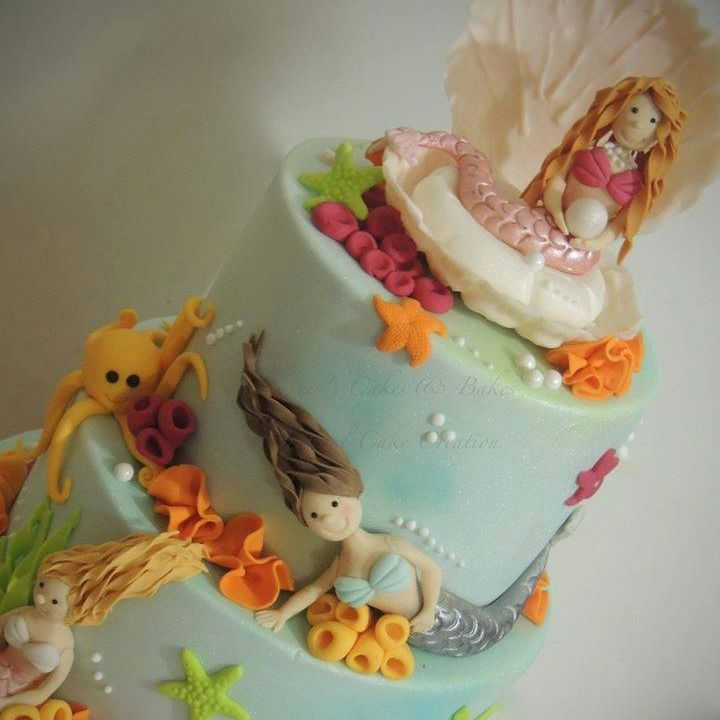 Mermaid Birthday Cake Shell Octopus Seaweed Starfish Coral