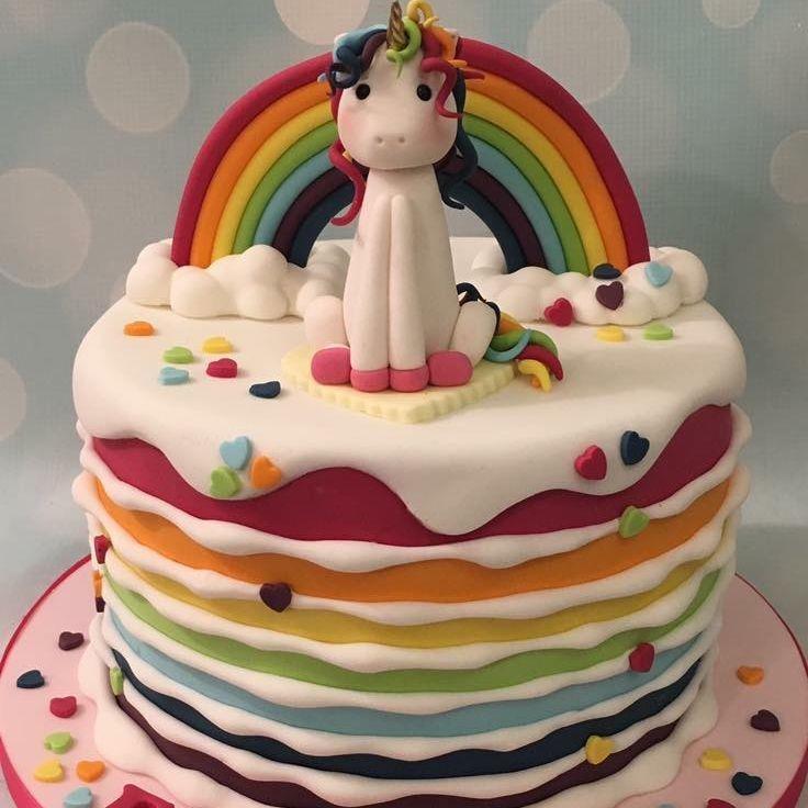 Rainbow Unicorn Stripe Cake Bright Heart Confetti