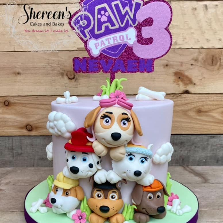 birthday cake Paw Patrol characters rubble marshall chase