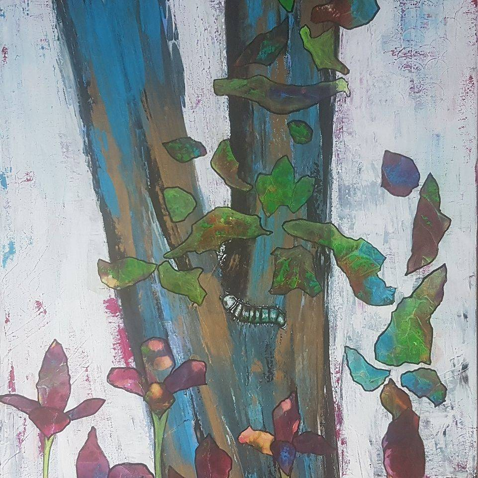 Wild plants acrylic painting abstract background