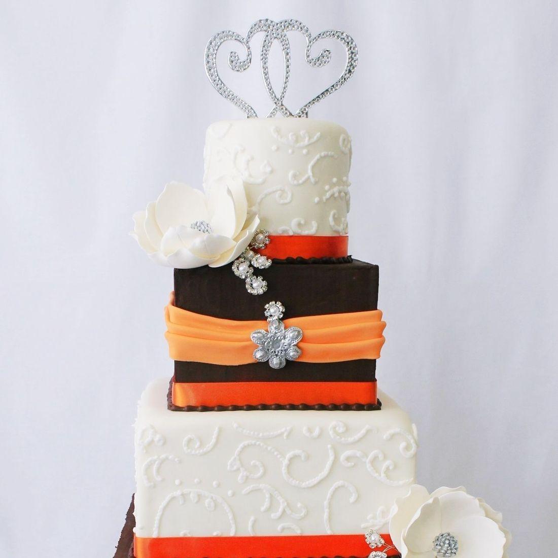 Custom Orange Brown Hearts Wedding Cake  Milwaukee