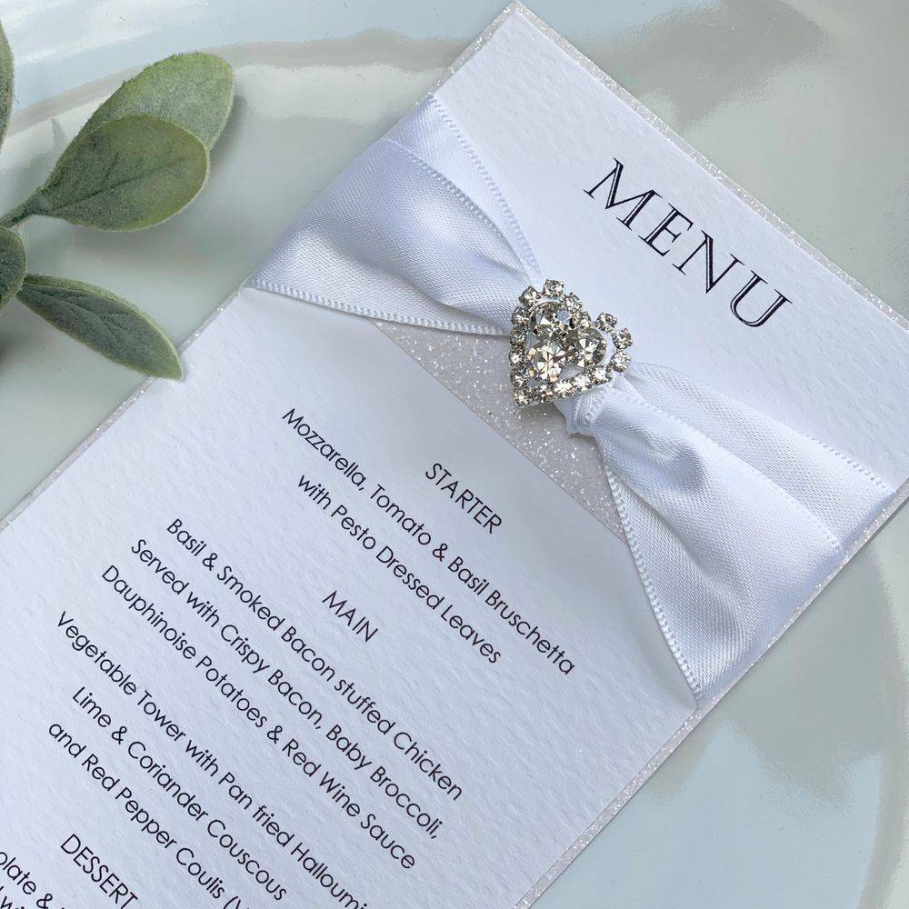 Wedding Luxury Menu Card - white with white glitter
