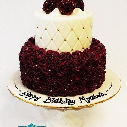 Custom Burgundy Rosettes Cake Milwaukee