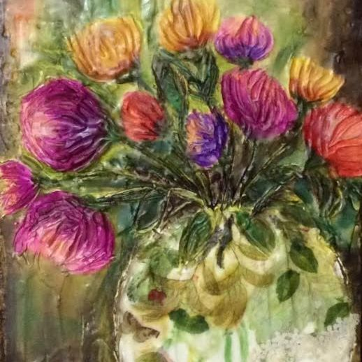 Encaustic and Alcohol Ink  Collage Painting, Abstract Floral by Barbara Polc
