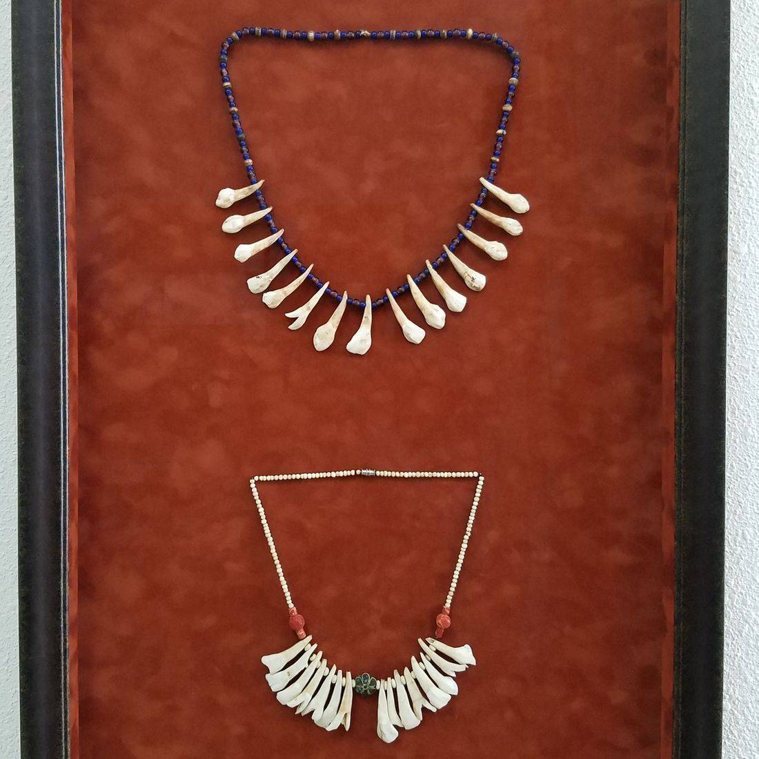 Sunset Framer mounted necklaces shadow box