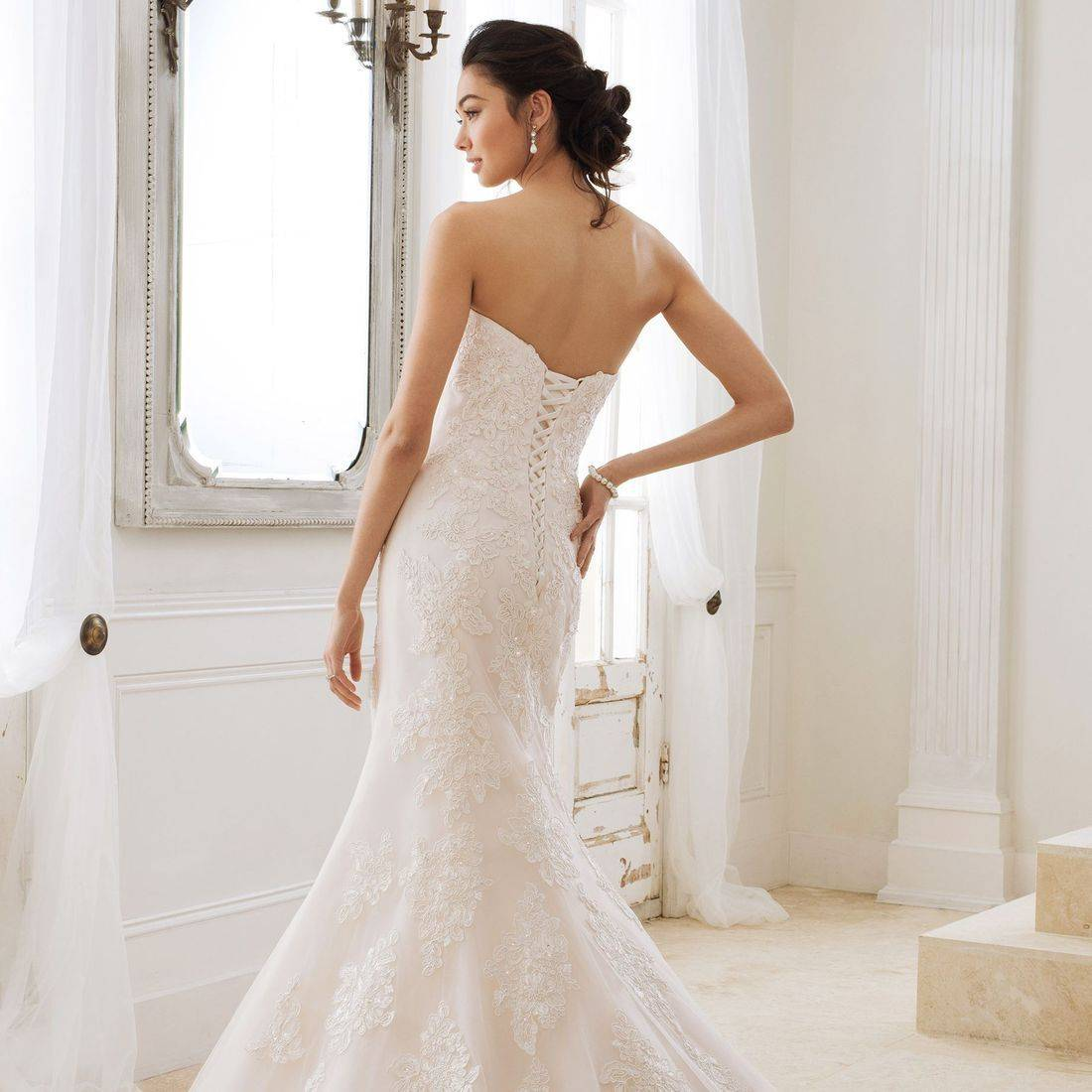 Sophia Tolli, Sophia Tolli wedding dress, fit and flare wedding dress, lace wedding dress, corset back wedding dress