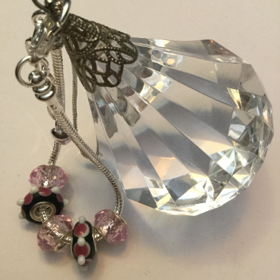 Lampwork Glass Beads, Black, Pink, Silver, Bracelet
