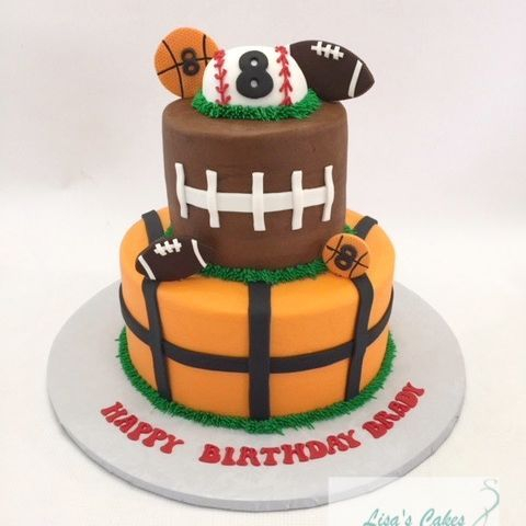 Multi sports themed cake