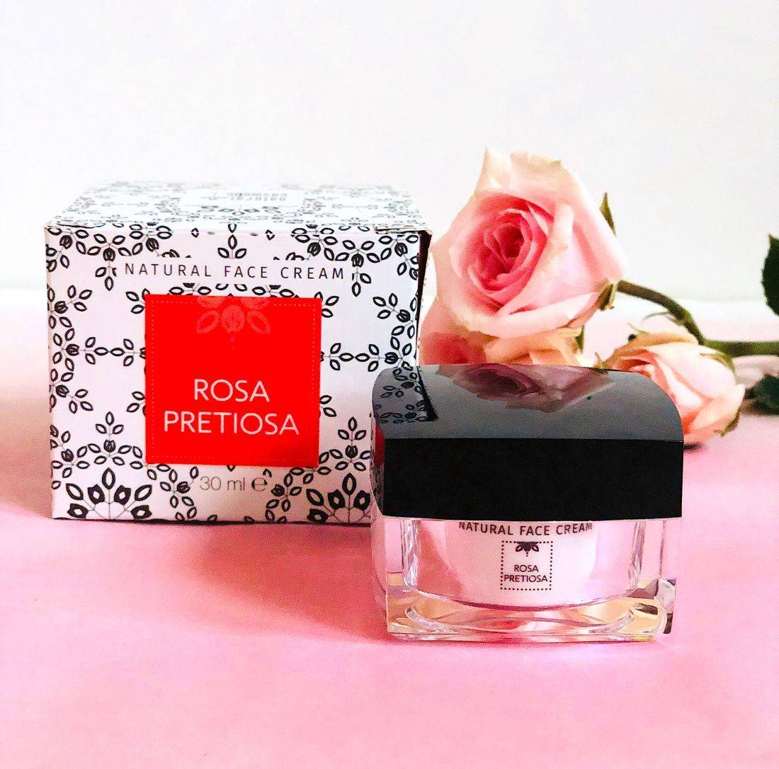 rosa pretiosa natural face cream, rose sorbet face cream, rose face cream, rose oil face cream, non toxic rose oil face cream, rosepost box, clean rose beauty