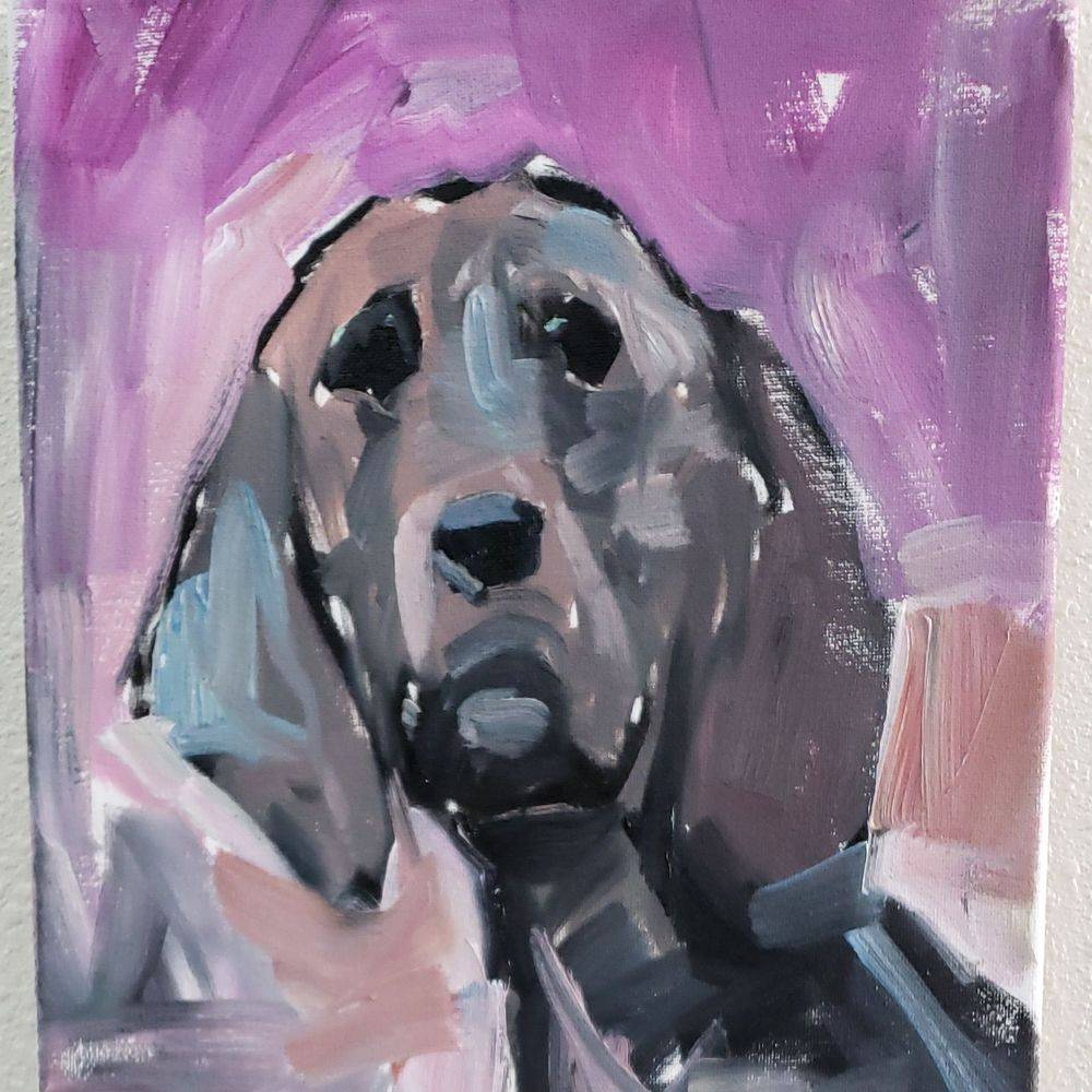 Hound dog original oil painting abstract
