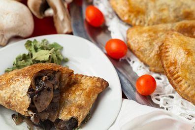 Mushroom and leek empanada vegan catering