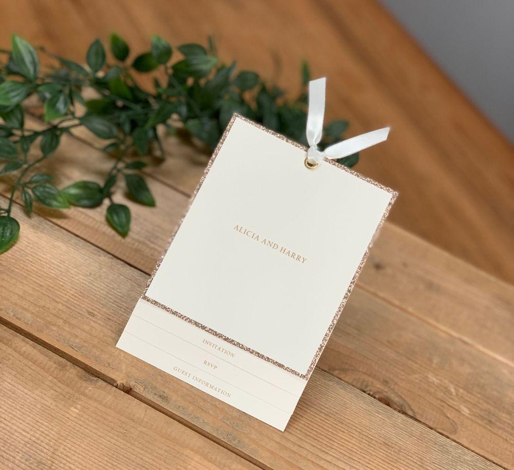 Champagne Glitter and Ivory wedding invitation