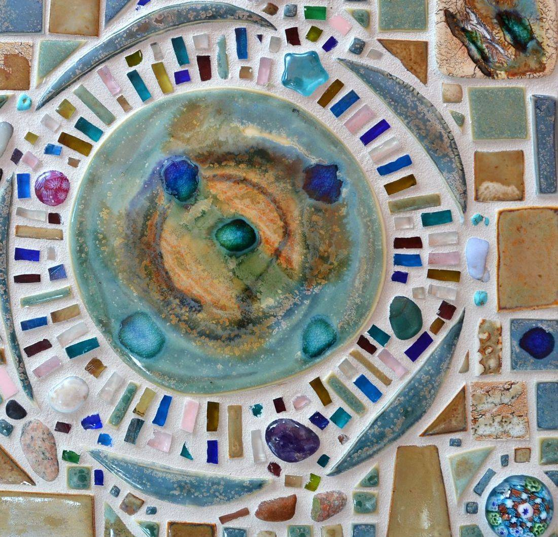 Mosaic Table top, hand made porcelain tiles, Italian glass,
