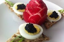 Swedish Canape with egg and caviar