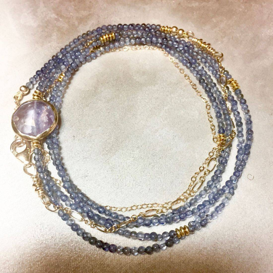 """42""""  Iolite Gemstone Wrap Bracelet,, with Bezel set Amethyst, 14K gold filled chain and clasp"""