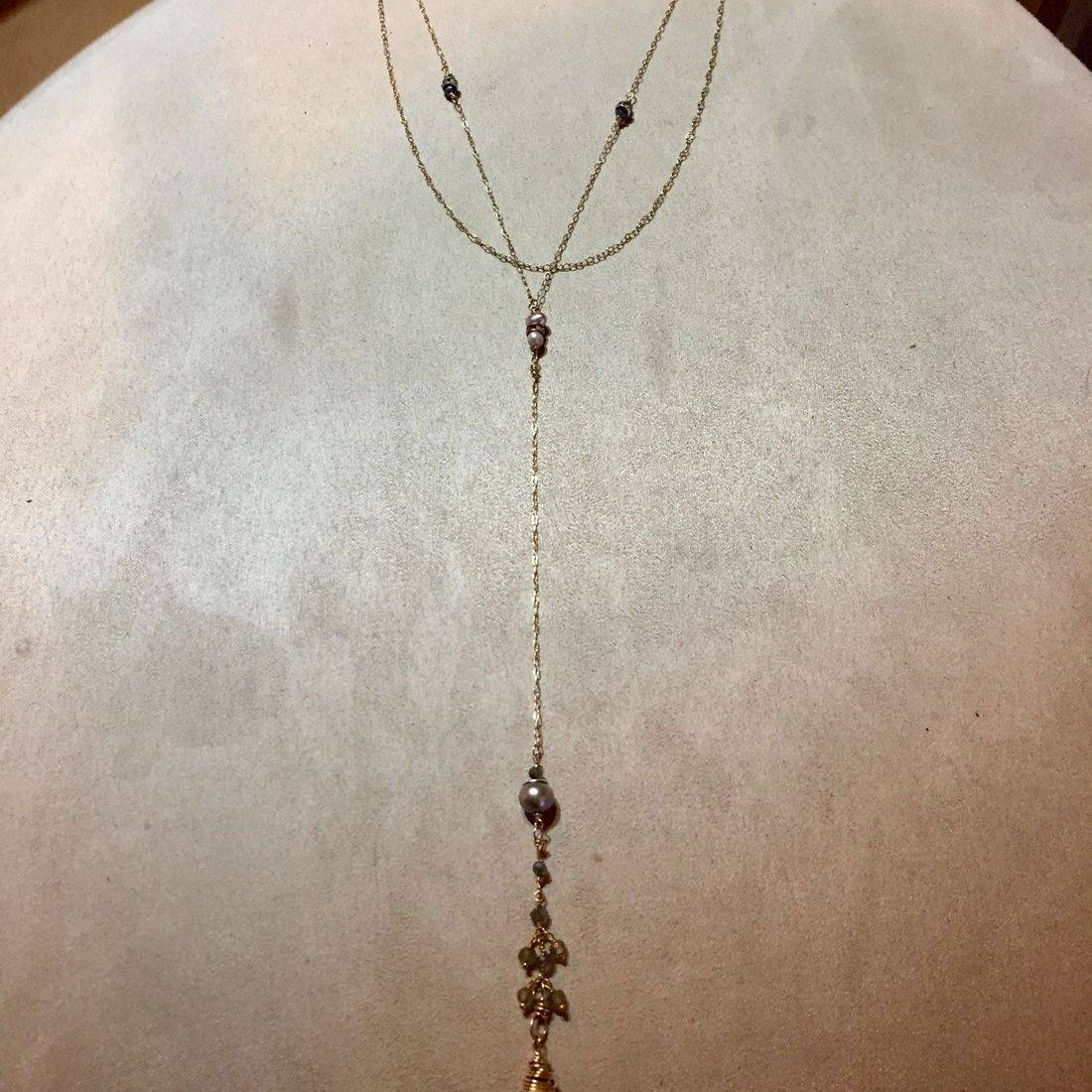 "5"" labradorite and pearl drop, 25"" overall, edwardian style necklace with double clasp chain connector"