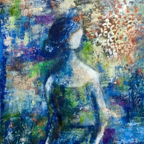 Oil and Cold Wax Medium Painting, Abstract Oil, Girl by a pond, figurative painting, By The Pond