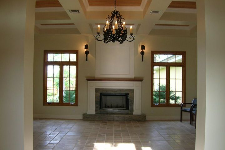 Delray Beach Ortlieb living room & fireplace