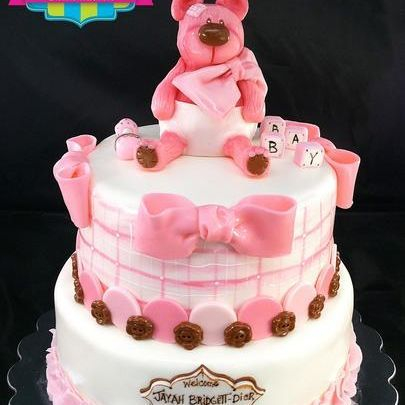 Custom Pink Teddybear Cake Milwaukee