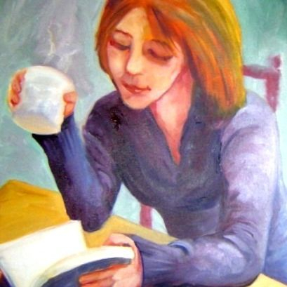 coffee girl painting