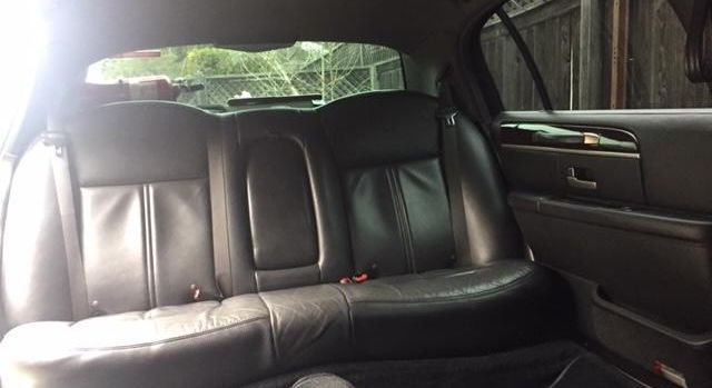 The inside rear seat in a 6 Passenger Limousine from Napa Sonoma Wine Tasting Driver.