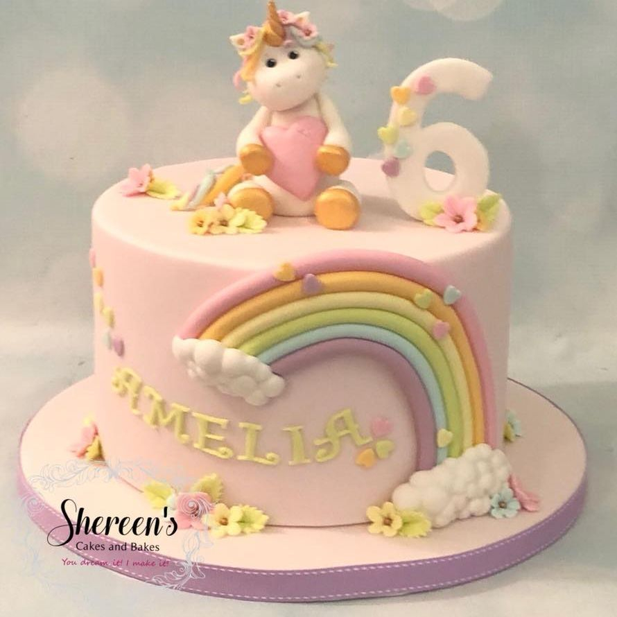 Unicorn Rainbow Pastel Birthday Cake