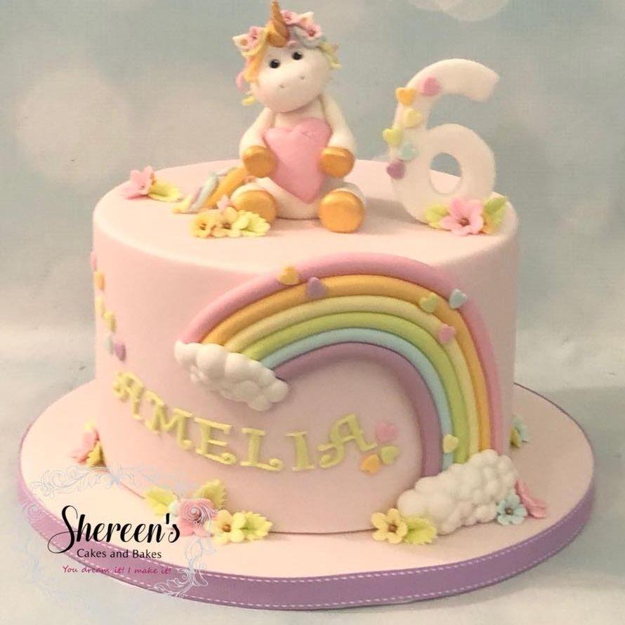 Unicorn Rainbow Pastel Birthday Cake
