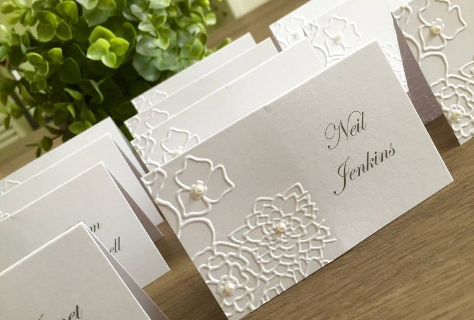 Embossed Wedding Place Name Cards