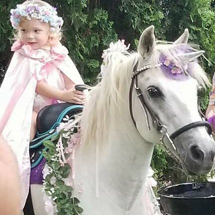 Unicorn carrying a little girl dressed as a princess