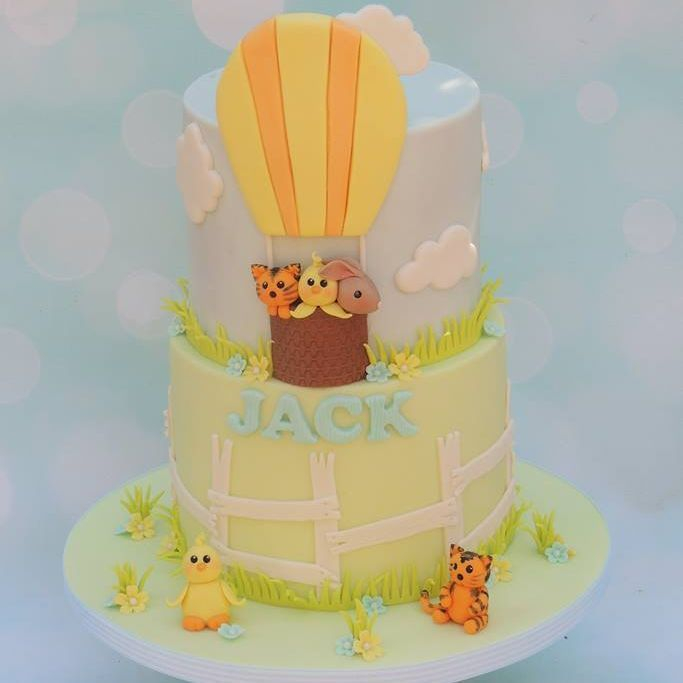 Hot Air Balloon Animals Cake Duck Birthday Tiger Bunny Clouds