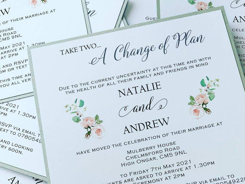 Change of Plan Card, Wedding change of date cards