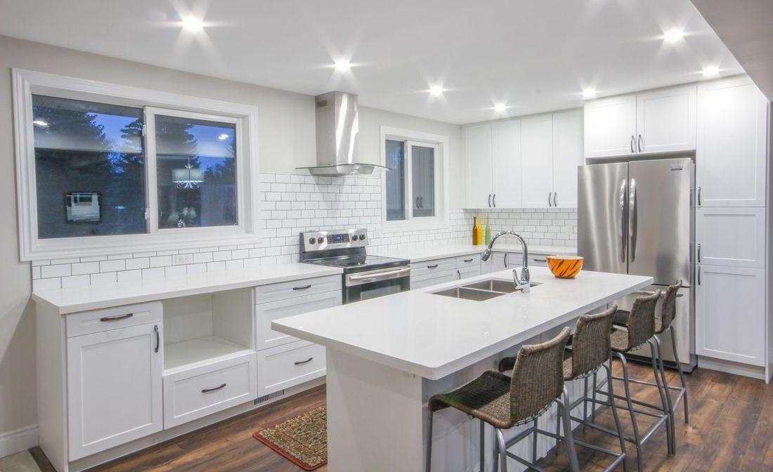 Quartz Kitchen Cabinets Backsplash Counter-tops Kingston Granite Kitchen Remodel