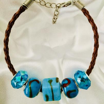 Aqua with Aqua/Brown Swirl Lampwork Glass Beads on Brown Corded Bracelet