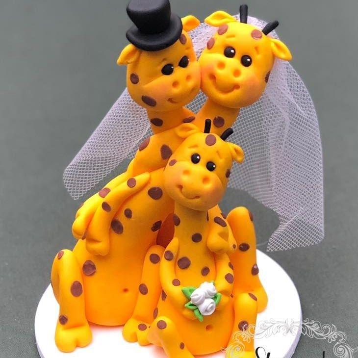 Bride Groom wedding keepsakes topper  Giraffe