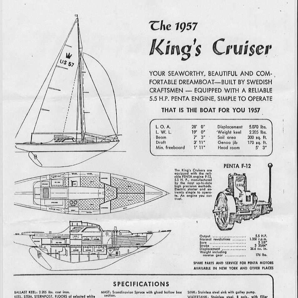 King's Cruiser antique wood sailboat