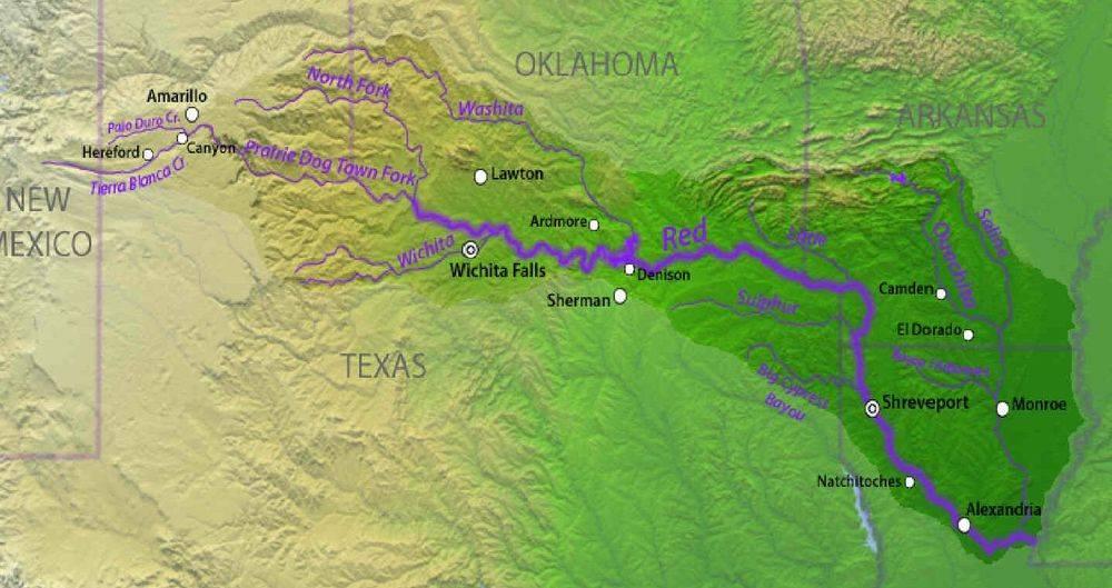 Red River, map, Texas, Oklahoma, Louisiana, tributaries