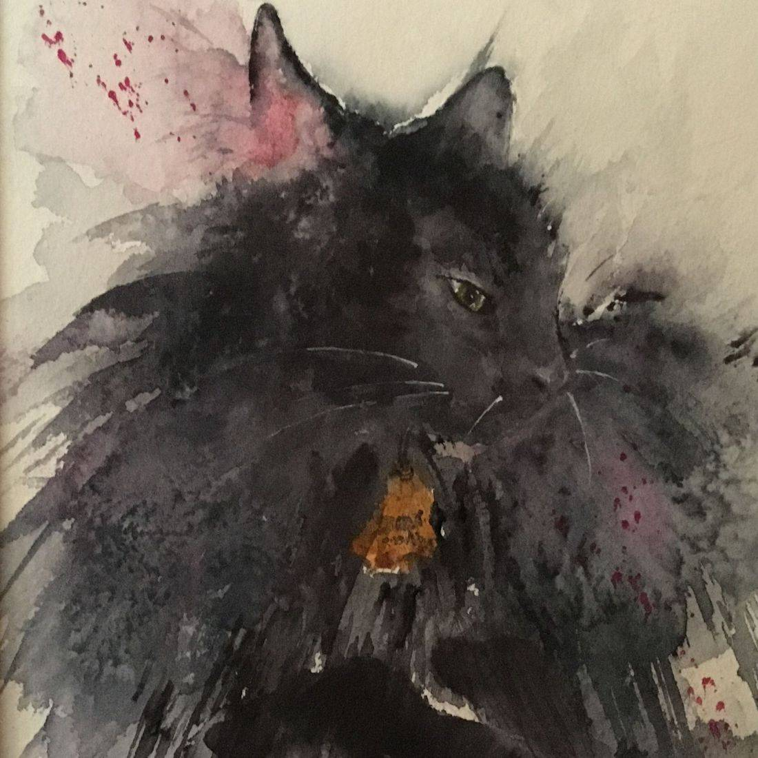 Rebecca Krutsinger/RPutbrese Watercolor/Becky Krutsinger pet portrait watercolor painting.