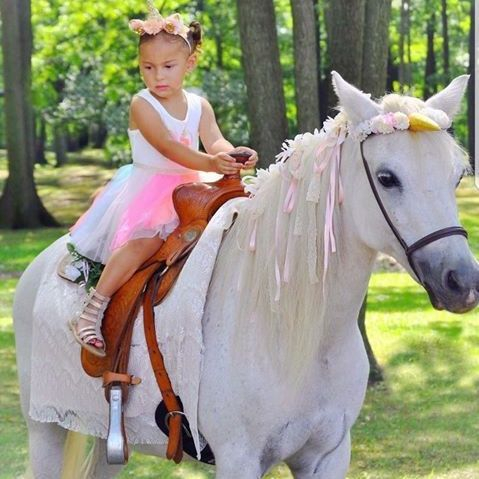 Little girl sitting on a unicorn