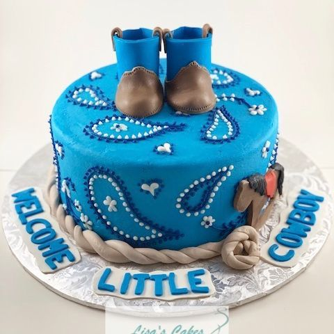 Cowboy Baby Shower Cake