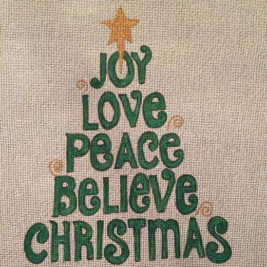 joy, love, peace, believe, christmas, word tree