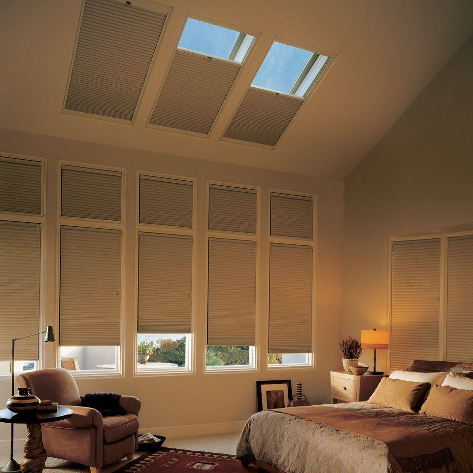 Hunter Douglas Honeycomb Duette blinds with PowerView motorization are ideal for skylight applications.