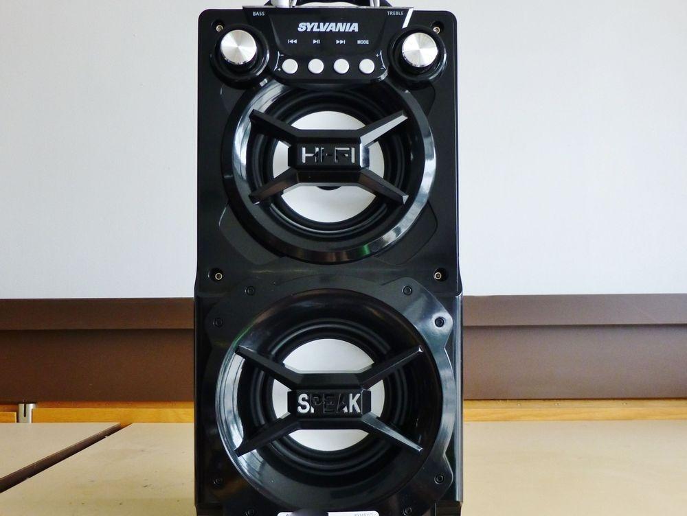 Close up picture of a black Sylvania portable bluetooh speaker