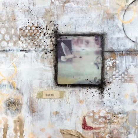 Mixed Media Collage, By Barbara Polc; Faith,  Ethereal Art; collage art; seagull