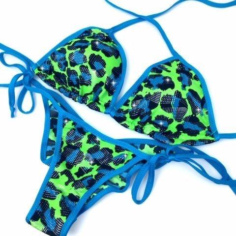 turquoise print practice bikini